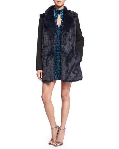 Long-Sleeve Fur-Front Combo Coat & Long-Sleeve Velvet Paisley Dress