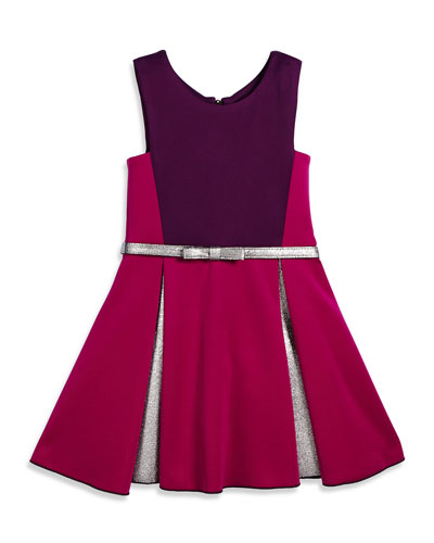 Sleeveless Belted Colorblock Pleated Dress