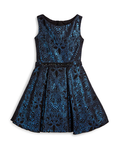Sleeveless Damask A-Line Dress, Blue