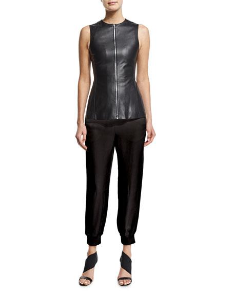 Agnona Zip-Front Leather Peplum Vest, Black