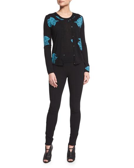 Agnona Floral-Print Wool Cardigan, Black/Turquoise