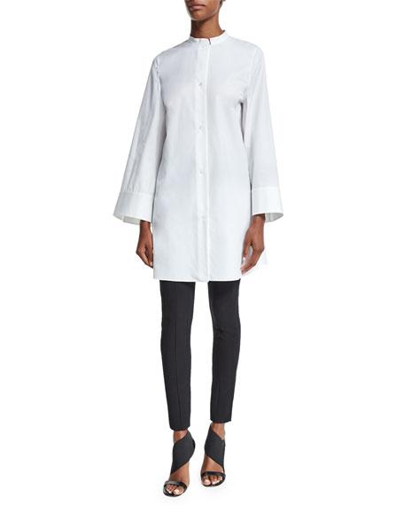 Agnona Button-Front Elongated Tunic Blouse, White