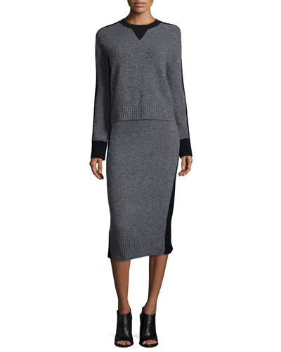 Nina Two-Tone Sweater & Nina Two-Tone Pencil Skirt