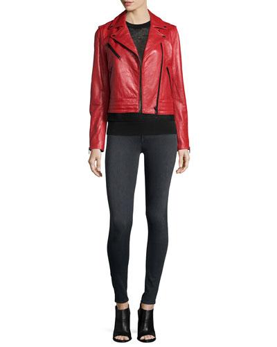 Chrystie Leather Moto Jacket, Shea Mesh Vest & Premiere Legging Jeans