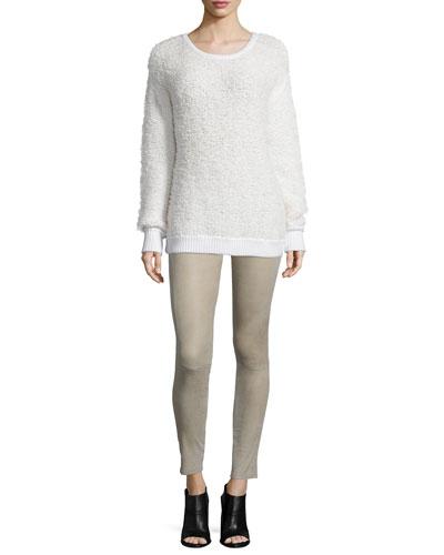 Corrine Long-Sleeve Sweater & Suede Skinny Ankle Pants