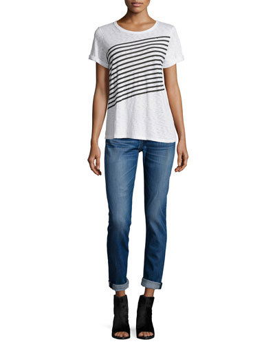 Striped Short-Sleeve Tee & Dre Low-Rise Cropped Jeans