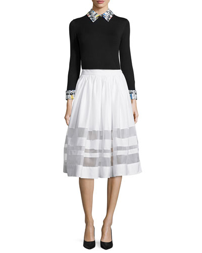 Stacey Montage-Trim Sweater & Misty A-Line Skirt