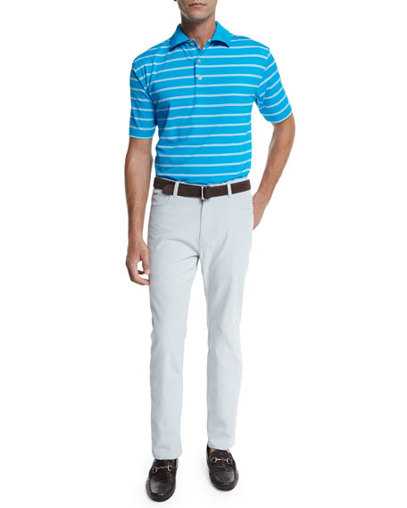 Peter MillarTorino Striped Jersey Short-Sleeve Polo, Blue