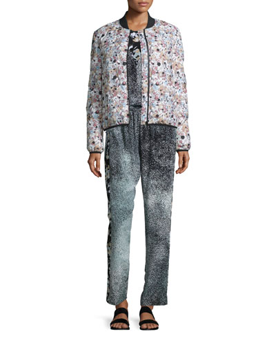 Kenzo Moonmap Nylon Puffer Jacket, Sleeveless Silk Illusion