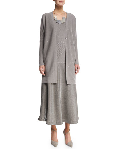 Sequined Long Cashmere Cardigan, Ribbed Shell, Large Art Deco Necklace & Gwenyth A-line Midi Skirt
