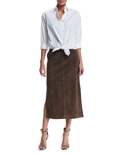 Leanne Long-Sleeve Blouse & Ramona Belted Suede Skirt