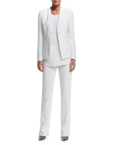Kara One-Button Crepe Jacket, Sasha Sleeveless Blouse & Barrow Straight-Leg Crepe Pants