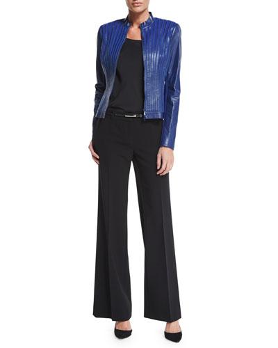 Biana Leather and Ponte Striped Jacket, Charmeuse Silk Bias Tank, Metallic Skinny Leather Belt & Beekman Wide-Leg Pants