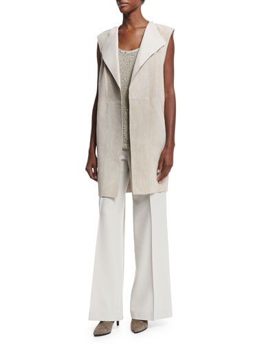 Long Suede Vest, Cleo Sleeveless Sequined-Front Blouse & Kenmare Flare-Leg Pants