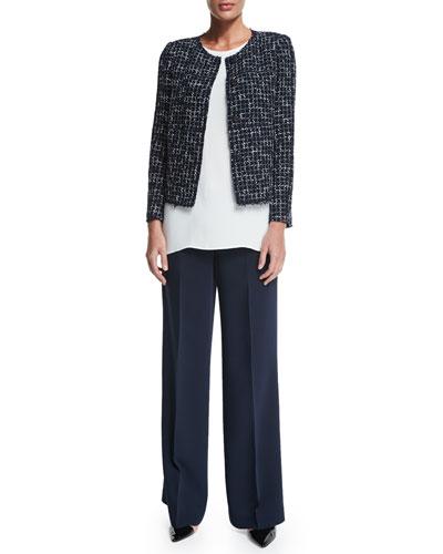 Dani Tweed Snap-Front Jacket, Sasha Sleeveless Blouse & Kenmare Flare-Leg Pants