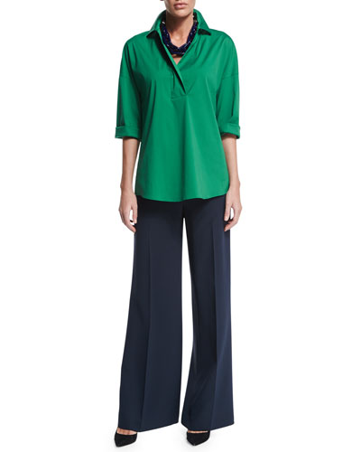 Baldwin 3/4-Sleeve Blouse, Kenmare Flare-Leg Pants & Mixed Chain Link Necklace