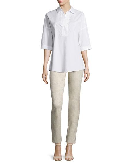 Lafayette 148 New York Baldwin 3/4-Sleeve Cotton-Stretch Blouse