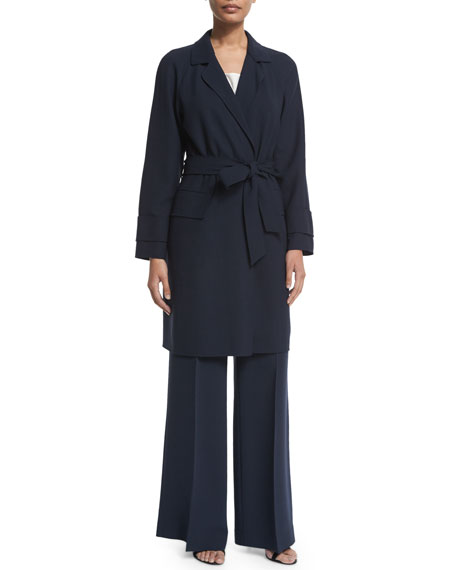 Lafayette 148 New York Lawson Belted Knee-Length Topper,