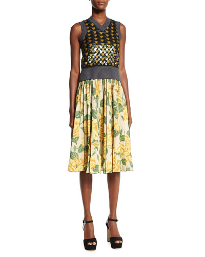 Sleeveless V-Neck Embellished Sweater & Pleated Floral-Print A-Line Skirt