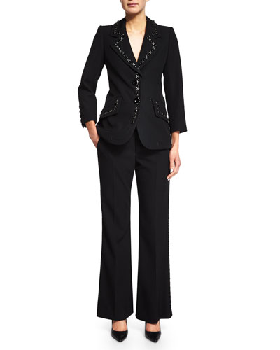 3/4-Sleeve Jacket & Flared Pants W/Embellished Trim, Black