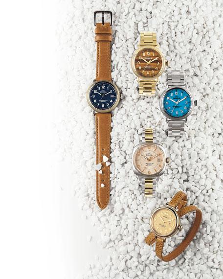 Shinola Runwell Coin Edge Watch with Sunflower Leather