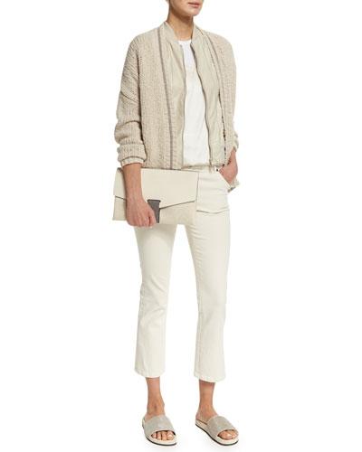 Zip-Front Leather Vest W/Monili Trim, Monili-Trim Open-Front Cardigan, Simple V-Neck Tank & Flare-Leg Cropped Jeans