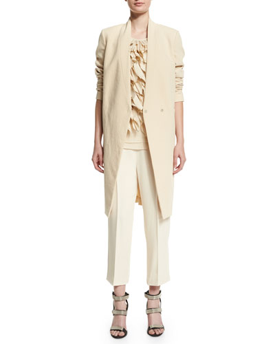 V-Neck Mid-Length Jacket, Round-Neck Petal-Embellished Tank & High-Waist Culotte Pants