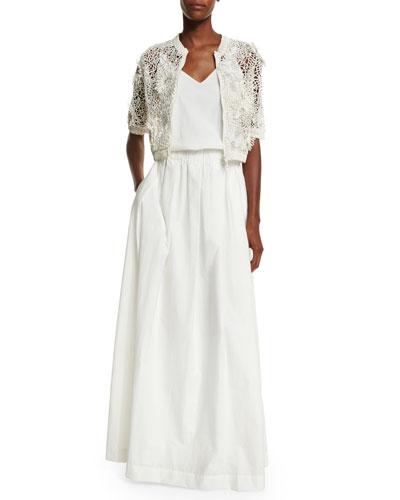 Half-Sleeve Monili-Embroidered Cardigan & V-Neck Monili-Strap Long Dress