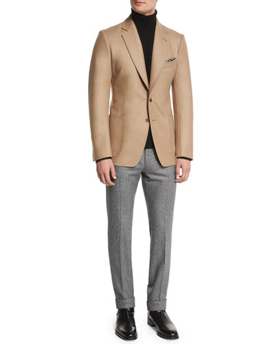 O'Connor Base Solid Jacket, Cashmere Turtleneck Sweater & Slim-Fit Micro-Houndstooth Tailored Sport Trousers