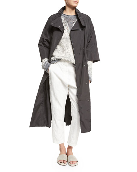 Brunello Cucinelli 3/4-Sleeve Long Belted Anorak Jacket, Slate