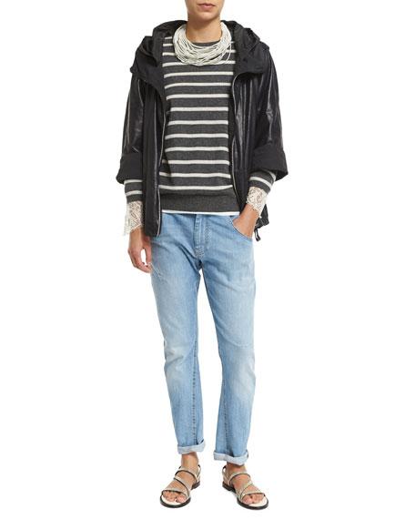 Brunello Cucinelli Lightweight-Leather Zip Jacket, Navy