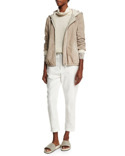 Hooded Suede Jacket W/Monili Trim, Turtleneck Lace-Trim Sweater & Paillette-Stripe Cropped Trousers