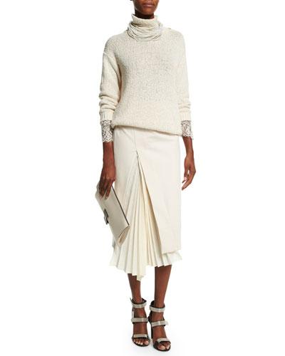 Turtleneck Lace-Trim Sweater, Multi-Strand Choker Necklace & Accordion-Slit Pencil Skirt