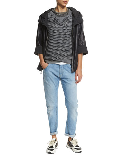 Lightweight-Leather Zip Jacket, Short-Sleeve Crochet Pullover, Jewel-Neck Muscle Tank & Distressed Boyfriend Jeans
