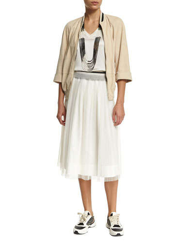 3/4-Sleeve Contrast-Trim Bomber Jacket, Simple V-Neck Satin Tank, Multi-Strand Beaded Long Necklace & High-Waist A-Line Skirt