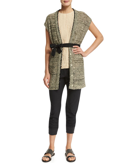 Brunello Cucinelli Belted Vest W/Sequined Trim, Butter/Black