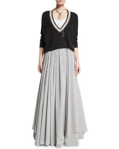 Long-Sleeve Monili-Trim Cashmere Pullover, Monili-Coil Choker Necklace, Monili-Trim Scoop-Neck Tank & Skinny-Striped High-Waist Ball Skirt