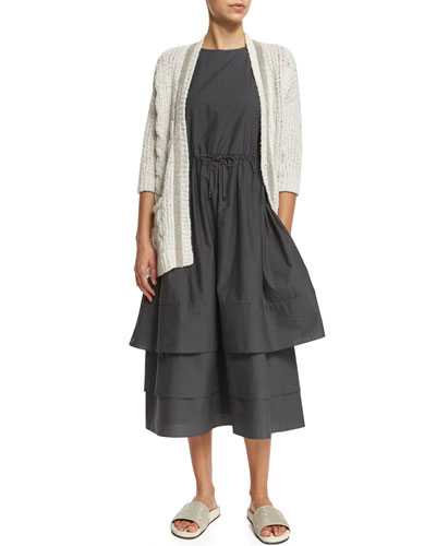 Monili-Trim Cable-Knit Cardigan & Sleeveless Tiered-Skirt Dress