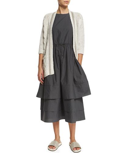 Monili-Trim Cable-Knit Cardigan & Sleeveless Tiered-Skirt Dress