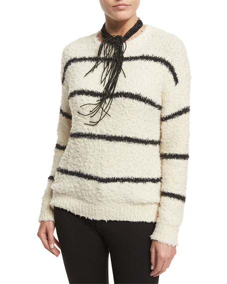 Brunello Cucinelli Long-Sleeve Striped Pullover, Cream/Black