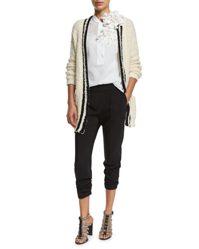 Brunello Cucinelli Long-Sleeve Contrast-Trim Cardigan, Sleeveless