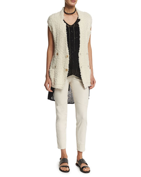 Brunello Cucinelli Sleeveless Double-Breasted Belted Cardigan, Butter