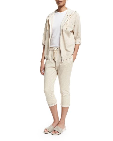 Brunello Cucinelli Zip-Front Hooded Spa Jacket, Butter