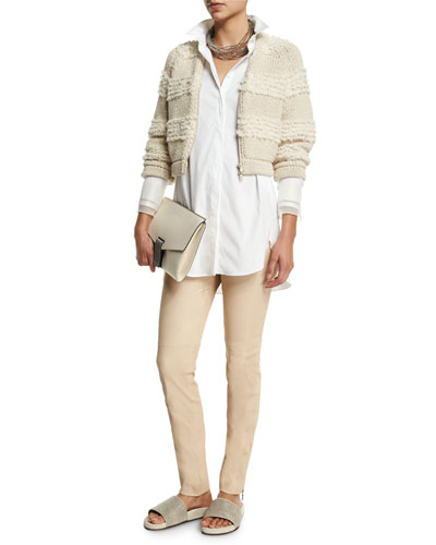 Horizontal-Striped Cropped Jacket, Long-Sleeve Button-Front Tunic, Multi-Strand Beaded Choker Necklace & Ankle-Zip Skinny Leather Pants