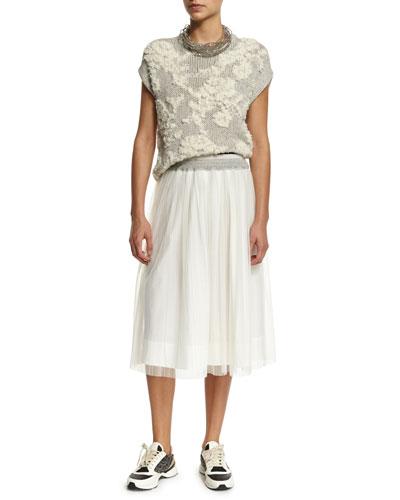 Floral-Knit Short-Sleeve Sweater, Choker & High-Waist A-Line Skirt