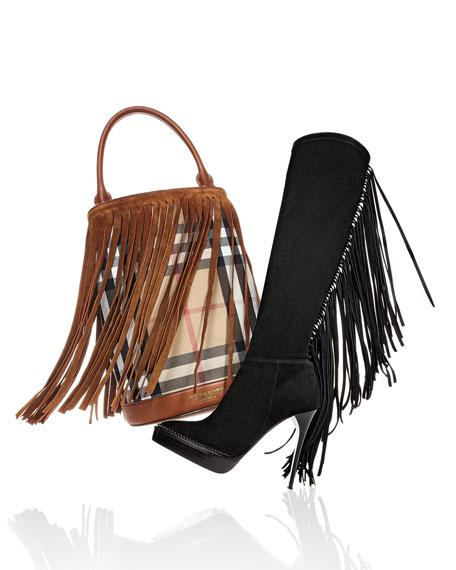 Burberry Prorsum Suede Fringe Check Bucket Bag, Dark