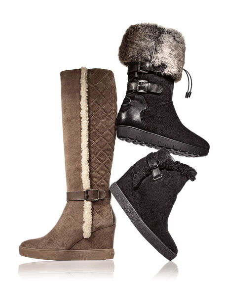 Weslyn Faux-Fur-Trimmed Toggle Snow Boot, Black