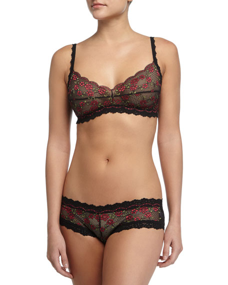 Hanky Panky Rose Garden Lace Bralette, Black/Red
