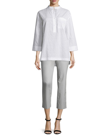 Lafayette 148 New York Cecilia Check-Print Blouse, White
