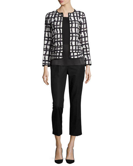 Lafayette 148 New YorkAisha Grid-Print Jacket, White/Multi